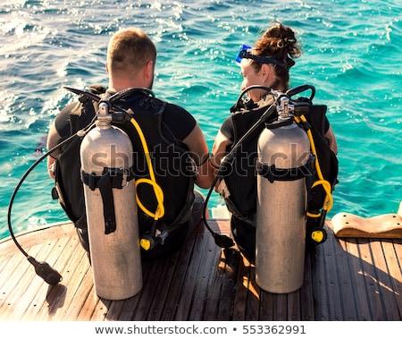Dwa scuba łodzi morza ilustracja człowiek Zdjęcia stock © colematt