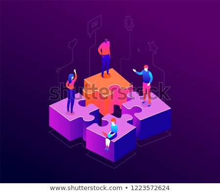 our team   modern colorful isometric vector illustration stock photo © decorwithme