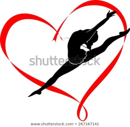 Wstążka rytmiczny gimnastyka serca biały Zdjęcia stock © m_pavlov