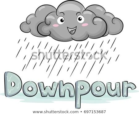Cloud Mascot Rain Downpour Illustration Stock photo © lenm