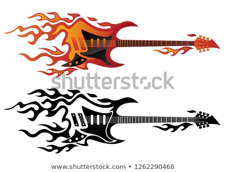 Electric guitar on fire in full color and black flames vector illustration Stock photo © jeff_hobrath