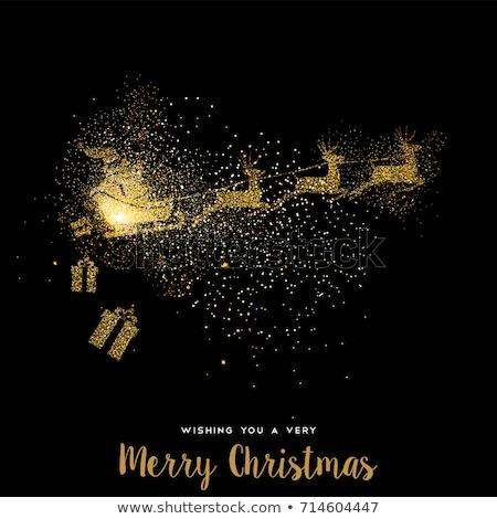 ストックフォト: クリスマス · 金 · グリッター · サンタクロース · グリーティングカード