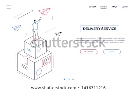 Delivery service - modern isometric vector web banner Stock photo © Decorwithme