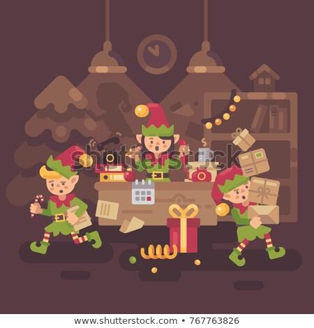 忙碌 · 聖誕老人 · 辦公室 · 小精靈 · 工人 - 商業照片 © IvanDubovik