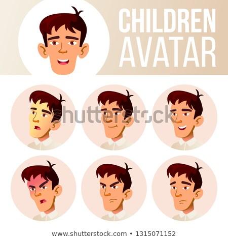 asian teen boy avatar set vector face emotions emotional casual friend cartoon head illustratio stock photo © pikepicture