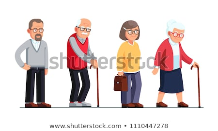 Old People Man, Woman Standing, Walking With Stick Vector. Senior Cartoon Person Set Vector. Isolate Stock photo © pikepicture