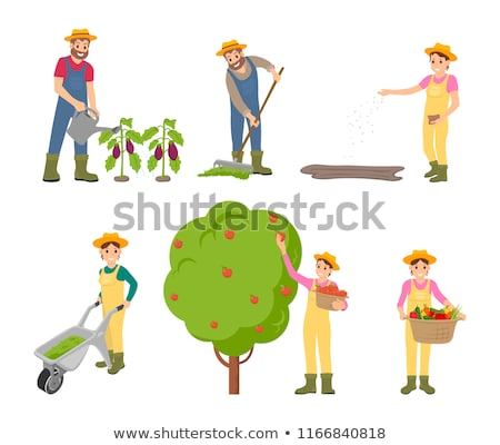 Stockfoto: Sowing Woman On Plantation Vector Illustration