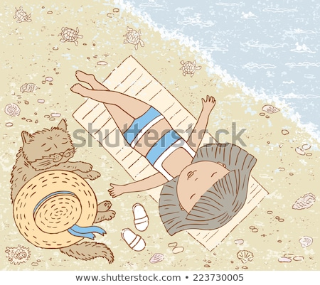 Kislány alszik tengerpart tenger égbolt víz Stock fotó © Mikko