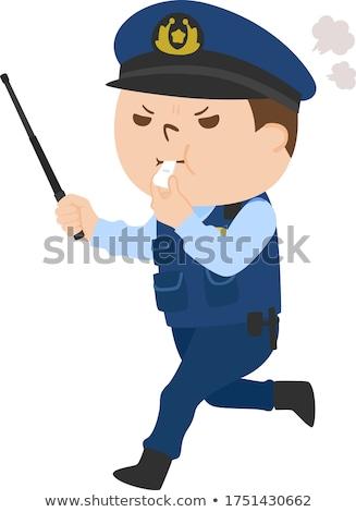 Stockfoto: Cartoon · boos · politieagent · jongen · naar