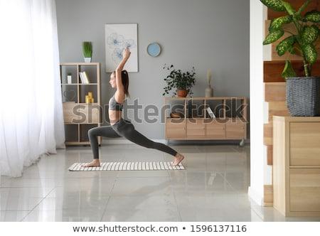 insanlar · egzersiz · ev · kadın · çocuklar - stok fotoğraf © andreypopov