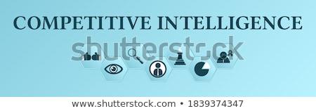 Compétitif intelligence bannière tête gens d'affaires ampoule Photo stock © RAStudio