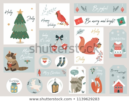 happy holidays and merry christmas postcards pigs stock photo © robuart