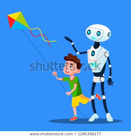 robot with child fly a kite vector isolated illustration stock photo © pikepicture