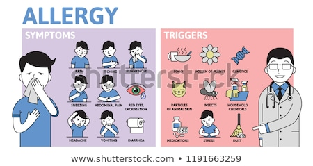 Allergy Symptoms Poster, Cough and Rhinitis Vector Stock photo © robuart