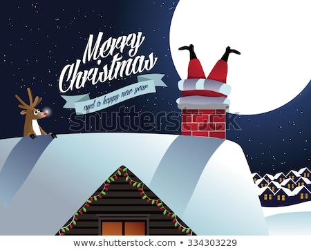 merry christmas card with santa look from chimney stock photo © robuart