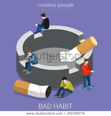 sigara · duman · yalıtılmış · sigara · içme · mavi · tütün - stok fotoğraf © netkov1