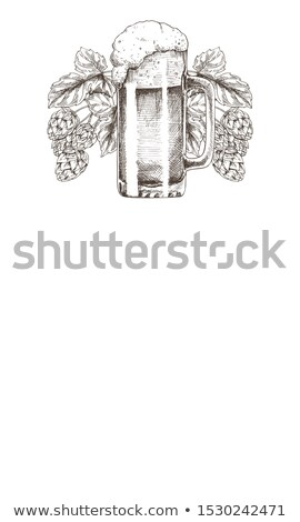 Foamy Beer Mug with Hop Plant Monochrome Poster Stock photo © robuart