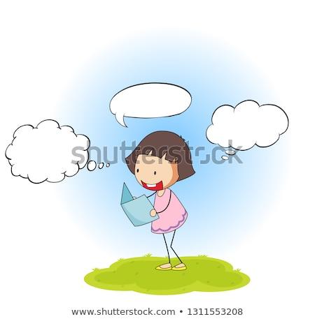 Boldog lány könyv szöveglufi illusztráció kommunikáció olvas Stock fotó © colematt