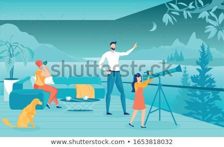 матери ребенка глядя небе телескопом иллюстрация Сток-фото © adrenalina