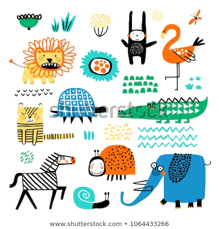 Set of cute wild animals icon for design and decoration Stock photo © MarySan