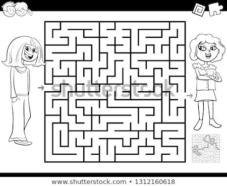 labirinto · atividade · jogo · preto · e · branco · desenho · animado · ilustração - foto stock © izakowski