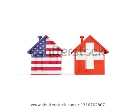 Dois casas bandeiras Estados Unidos Suíça isolado Foto stock © MikhailMishchenko