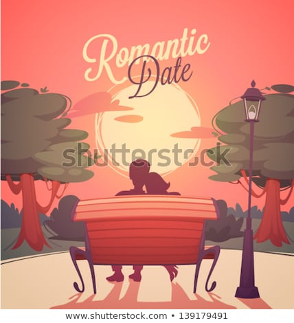 Valentine Day, Hugging Couple on Bench Vector Stock photo © robuart