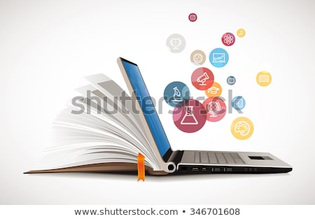 computer with educational page and books vector stock photo © robuart