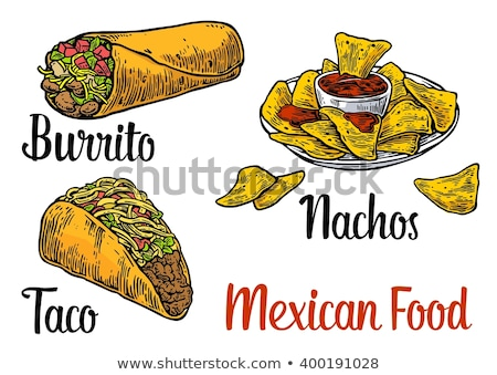 Fast Food Burrito Poster Text Vector Illustration Stock photo © robuart