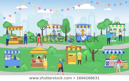 Marketplace, Stalls of Sellers and Shopping People Stock photo © robuart