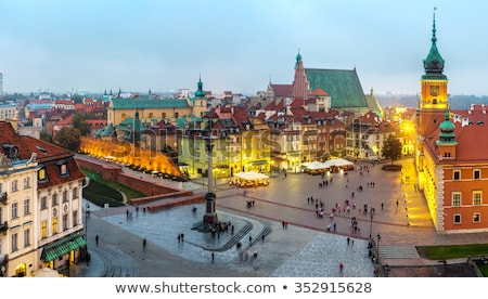 Aerial view of the royal castle in the old town at night, Warsaw Stock photo © vlad_star
