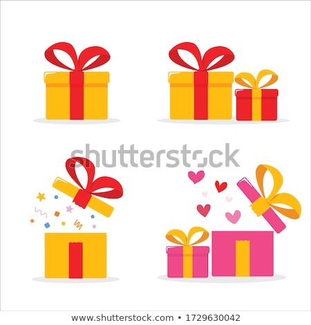 Open Red Gift Box and Heart Confetti. Christmas and Valentine Background. Vector Illustration Stock photo © olehsvetiukha