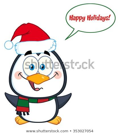 Cute Penguin Cartoon Character Waving With Speech Bubble Stock photo © hittoon