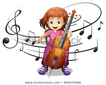 Girl playing cello alone Stock photo © colematt