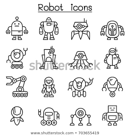 Robots - line design style silhouette icons set Stock photo © Decorwithme