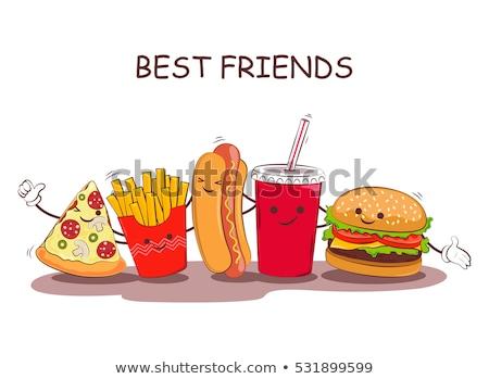 Cachorro-quente fast-food vetor desenho animado estilo bandeira Foto stock © robuart