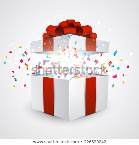 Open white Gift Box and Confetti. Christmas and Valentine Background. Vector Illustration Stock photo © olehsvetiukha
