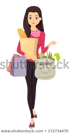 Photo stock: Adolescente · marché · sac · illustration · adolescente