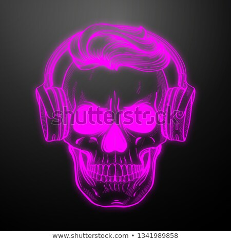 Angry skull with hairstyle and moustaches Stock photo © netkov1