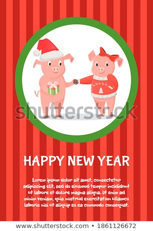 Happy New Year, Male and Female Piglets with Gifts Stock photo © robuart