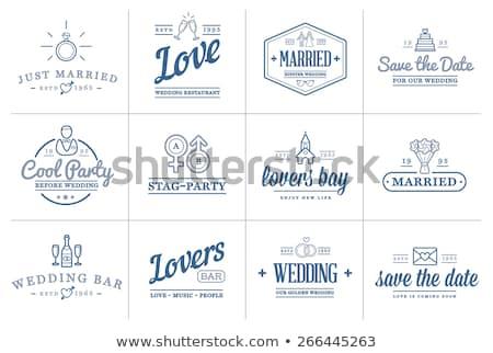 Vektor esküvő ügynökség logoterv gyűrűk logo Stock fotó © blumer1979