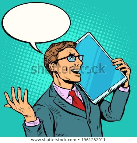 Zakenman praten telefoon groot scherm tablet Stockfoto © studiostoks