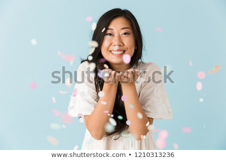 アジア 小さな 女性 孤立した 青 ストックフォト © deandrobot