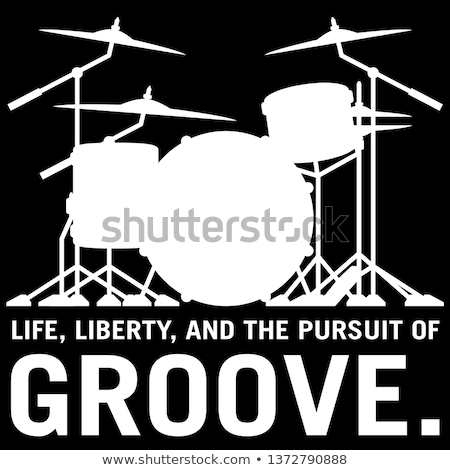 Life, Liberty, and the pursuit of Groove, drummer's drum set silhouette isolated vector illustration Stock photo © jeff_hobrath