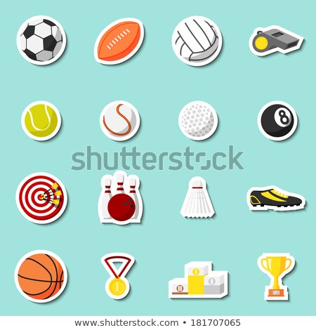 Badminton labels and icons set Stock fotó © netkov1