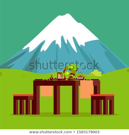 Japanese Restaurant Table with Mountain on Horizon Stock photo © robuart