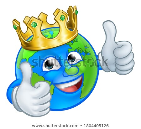 king gold crown earth globe world cartoon mascot stock photo © krisdog