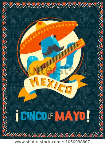 Happy Cinco de Mayo mexican mariachi cactus card Stock photo © cienpies