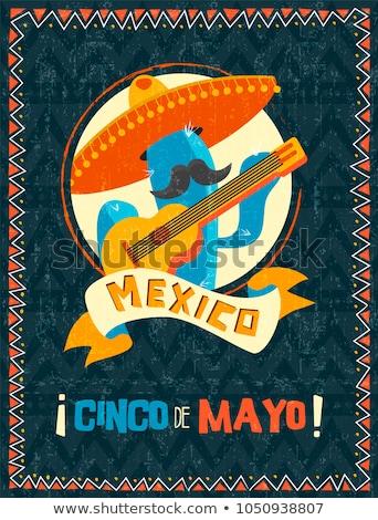 Happy Cinco de Mayo mexican mariachi cactus card stock photo © cienpies