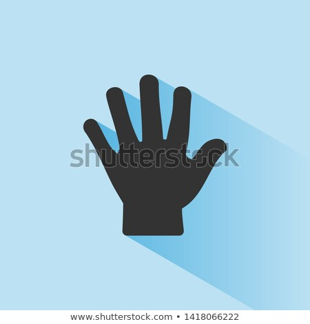 Body senses tact. Hand icon with shade on blue background Stock photo © Imaagio